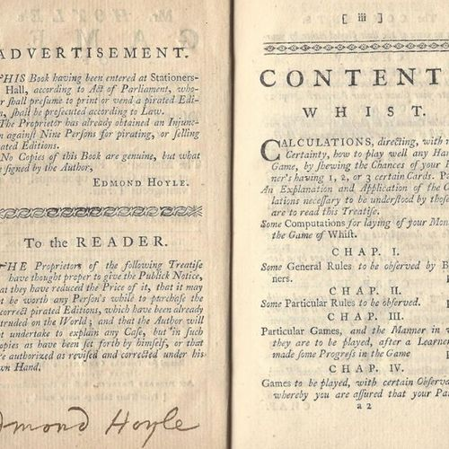 HOYLE EDMOND: (1672 1769) English Authority on the rules and play of Card Games.…