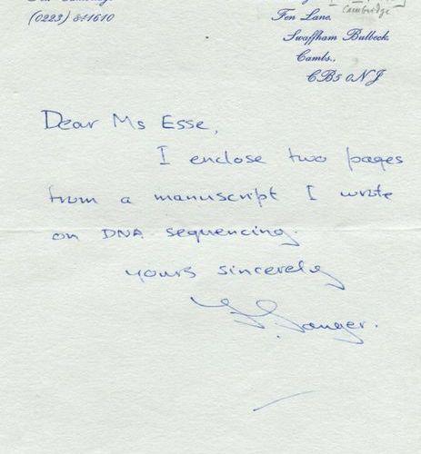 SANGER FREDERICK: (1918 2013) British Biochemist, Nobel Prize winner for Chemist…