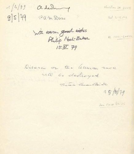 NOBEL PRIZE WINNERS: A good and rare multiple signed page, folio, by various Nob…