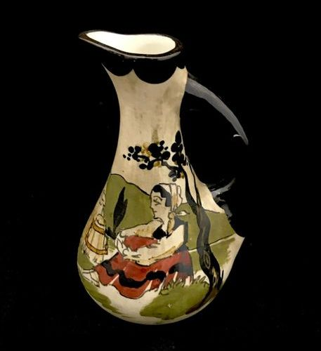 GAITAUD, Set comprising a jug, a double saltcellar and a small vase with handle …