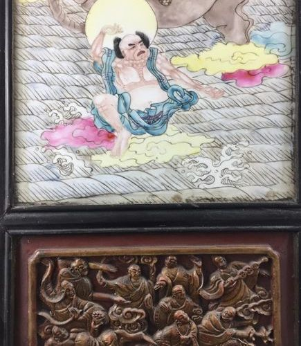 CHINA Porcelain panel and enamels of the Rose family. Ningbo wood frame dating f…
