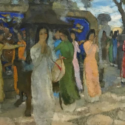 PHUOC (20th century) Girls in Ao Dai in front of the Ngoc Son temple (Hanoi) Oil…