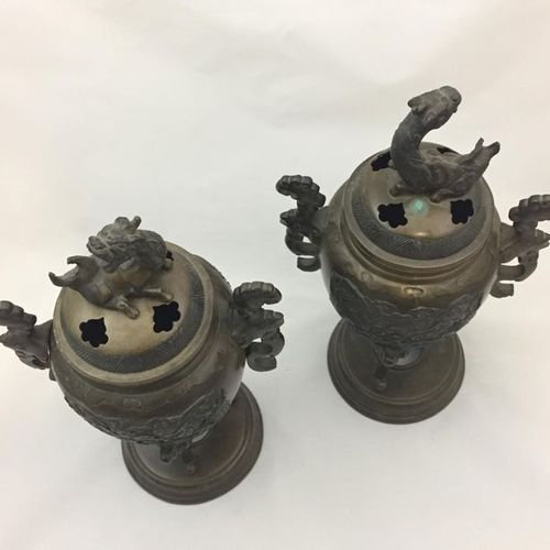 Pair of tripod bronze incense burners with a beautiful light brown patina, decor…