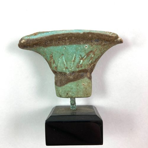 Piece of lotiform column. Must have been the handle of a sceptre or sistrum.  Gr…