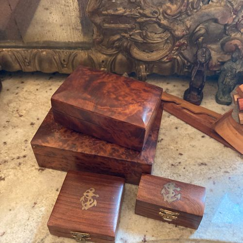 Set of four boxes including: a suite of two burr walnut boxes, rectangular in sh…