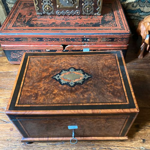 Correspondence box in black stained wood and burr walnut veneer.  Accidents and …