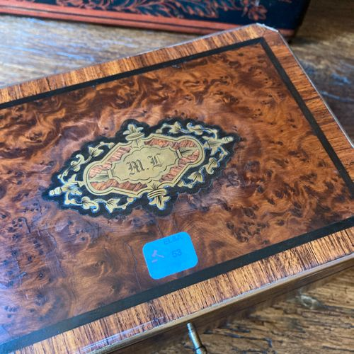 53 Rectangular chest with folded corners in burr walnut, ebony, brass and rosewo…