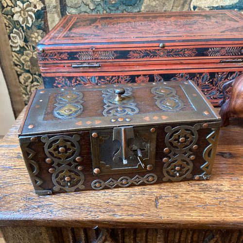 North Africa. Playing card box made of stained wood and rich ornamentation of ir…