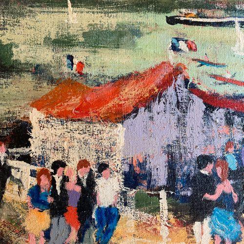 "Urbain HUCHET "" Chez Jojo "" Oil on canvas, signed lower right.  58 X 78 cm"