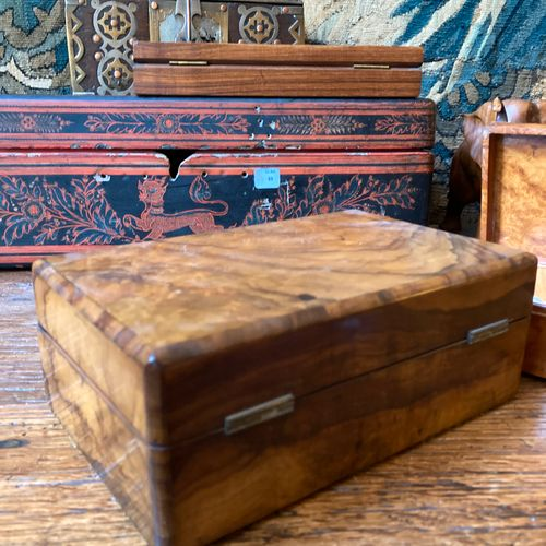 Set of two walnut and burr walnut playing card boxes.
