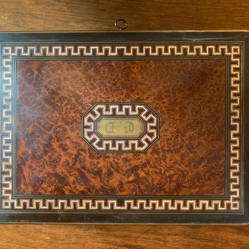 SUSSE in PARIS. Wooden game box with walnut, ebony and mother of pearl marquetry…