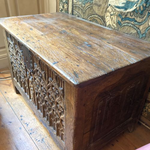 Rectangular shaped chest in molded and carved oak. The front of the chest has a …