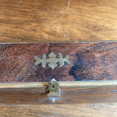 Mahogany pencil box with brass trim.  England. Late 19th century, Victoria perio…