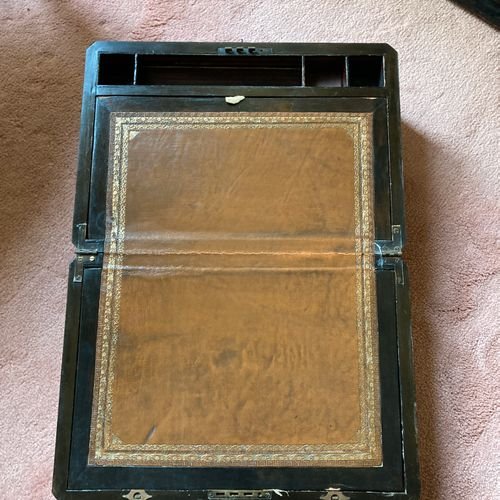 """Rectangular veneer box. The lid signed """" JB JENA """", dated 1888 in a cartouche. O…"""