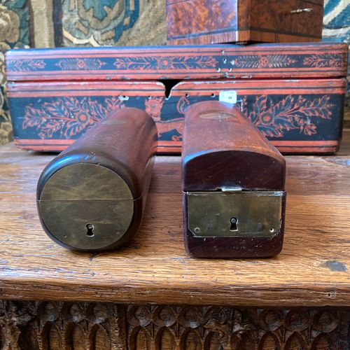 Two mahogany country toilet cases, each decorated with a blind cartouche.  Lengt…