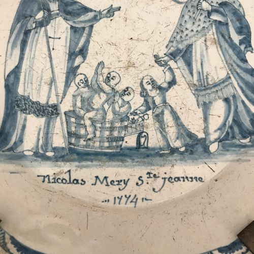 NEVERS Earthenware plate decorated in monochrome blue Nicolas Merry and St. Joan…