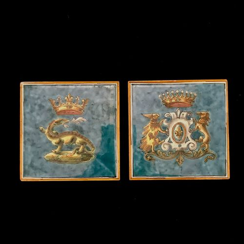 Blois ULYSSES Two coasters in polychrome earthenware of Blois, one with the arms…