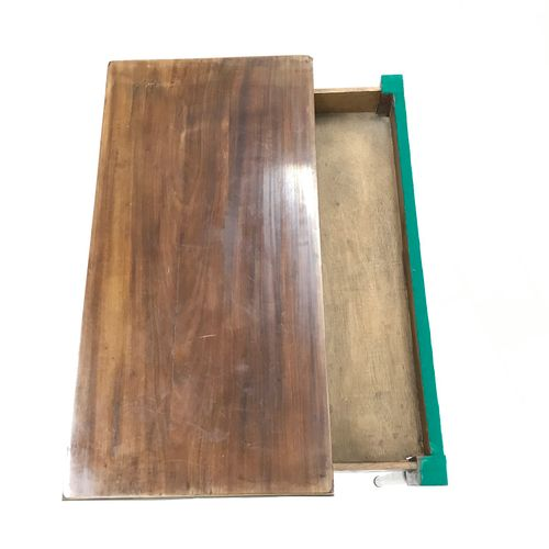 Mahogany and mahogany veneer game table. Folding top. Sheath feet. Trim with a b…