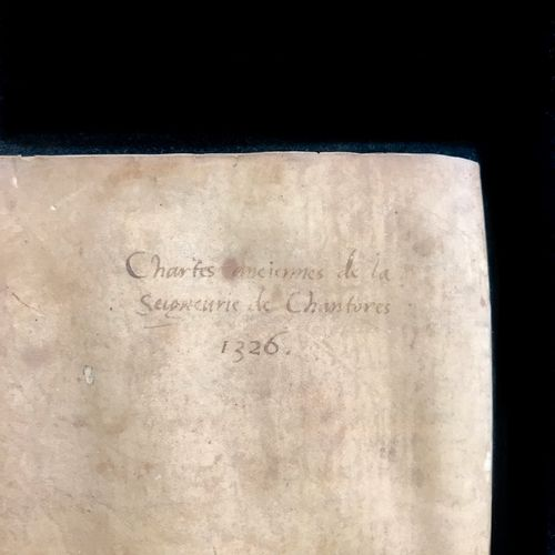 Chartrier on vellum with brown ink composed of several leaves concerning the sei…