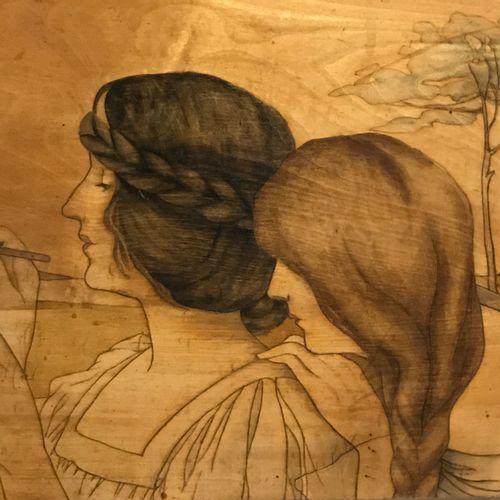 Sculpture. Pyrographed wood panel. Art Nouveau style. Height: 31 cm, Width: 51 c…