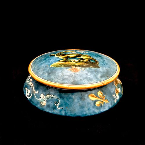BLOIS BRUNEAU a round box in earthenware of Blois, with polychrome decoration of…