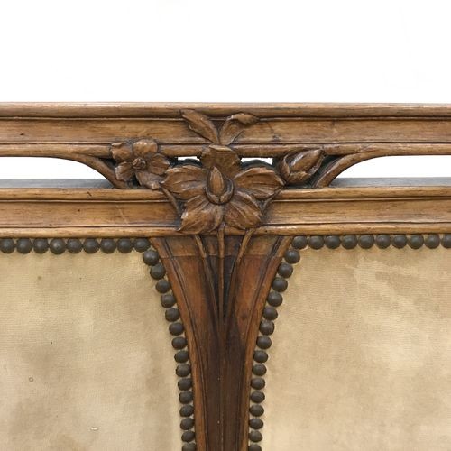 Louis MAJORELLE (in the taste). Living room furniture in natural walnut, molded …