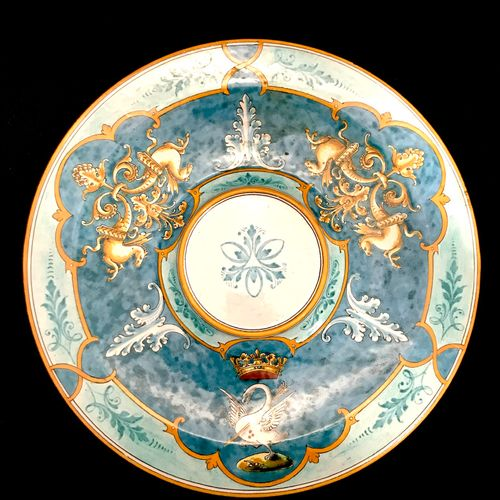 Blois ULYSSES A polychrome earthenware dormant with decorations on a blue backgr…