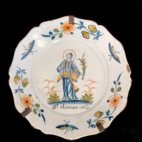NEVERS Plate in faïnce with polychrome decoration of Saint Etienne in the basin …
