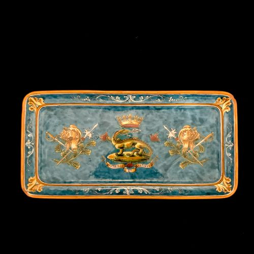 BLOIS BRUNEAU a rectangular dish in earthenware of Blois, with polychrome decora…