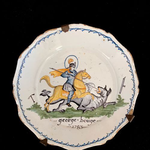 NEVERS Plate in faïnce with polychrome decoration of Saint George overcoming the…
