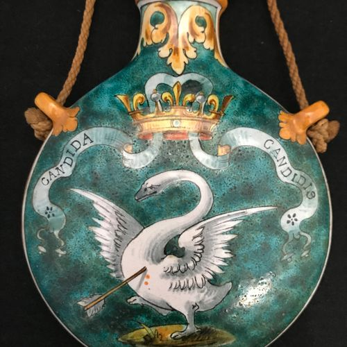 Blois ULYSSE A polychrome earthenware flat flask, with decorations, on green bac…