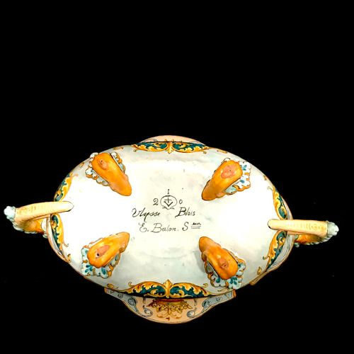 Blois ULYSSE A large earthenware rafraïchissoir cup on feet, decorated with the …