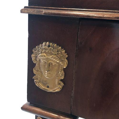 (44) Mahogany and mahogany veneer man's barber shop with gilt bronze ornaments s…