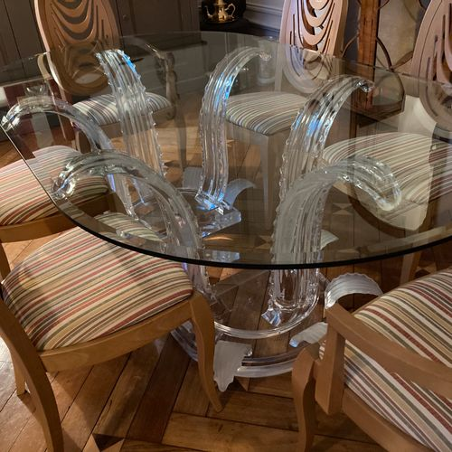 René LALIQUE 1860 1945 (in the taste of). Dining room table with oval glass top …