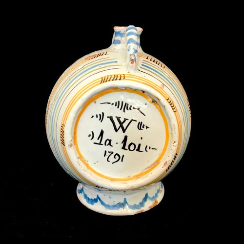NEVERS Earthenware barrel shaped flask with polychrome enamel decoration. Marked…