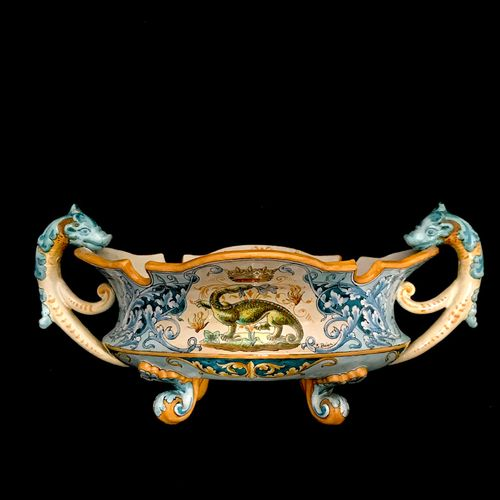 Blois ULYSSE A large earthenware refreshment cup on feet, decorated with the sal…