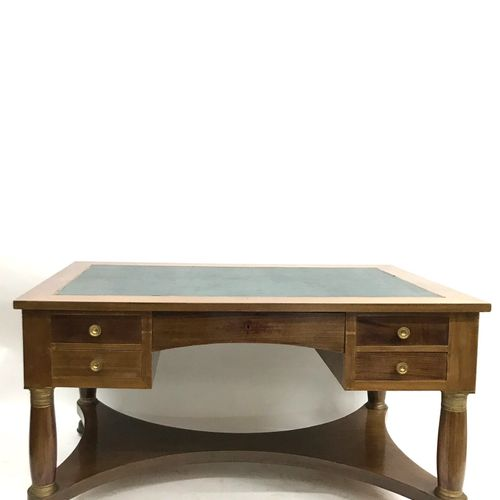 (38) Rectangular flat desk and its desk chair. Tan leather upholstery. Empire st…