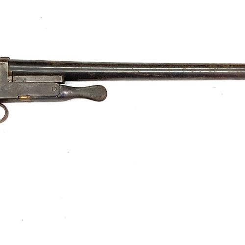 Fusil mono coup pliant à percussion centrale par chien extérieur, canons de 68 c…