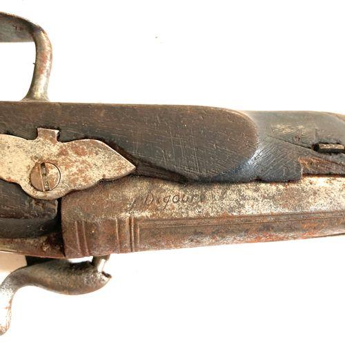 Pistolet, canon à pans puis rond de 22 cm, platine à percussion, détente plate s…