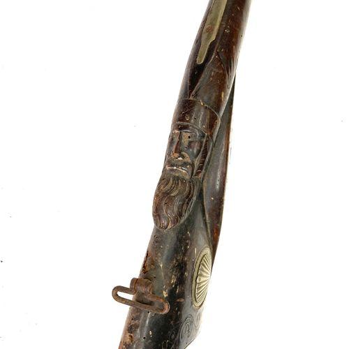 Fusil de chasse à percussion, canons en table de 78 cm, garnitures maillechort, …