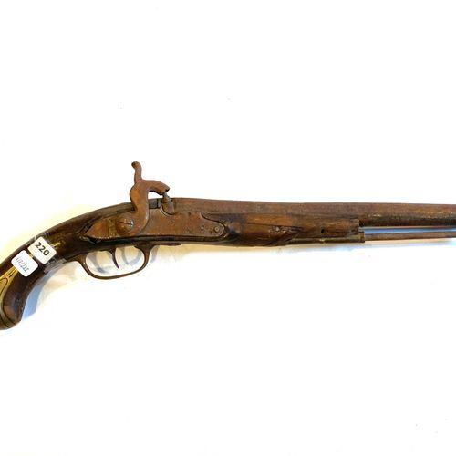 Pistolet pour officier, platine à silex de 124 mm, transformée percussion, canon…