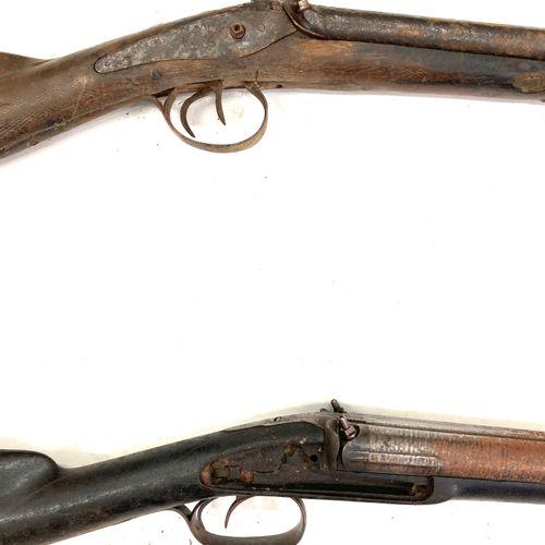 Fusil de chasse à percussion, platines absentes, canons en table effet Damas de …