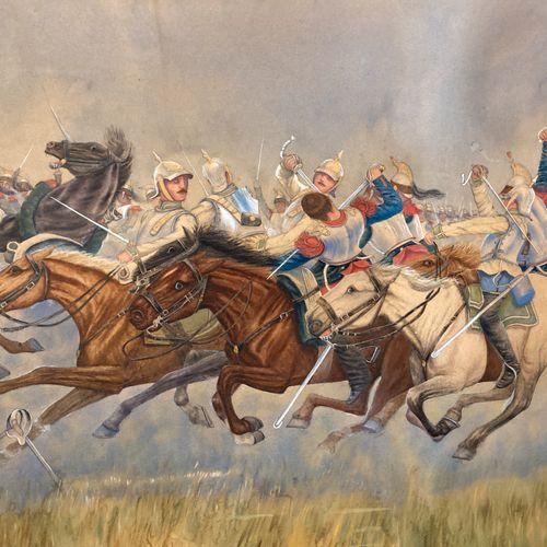 Paul HEMDEY d'après E.DETAILLE, aquarelle rehaussée de gouache, choc de cavaleri…