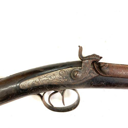 Fusil de chasse à percussion, canons en table de 79 cm, chiens à profil zoomorph…