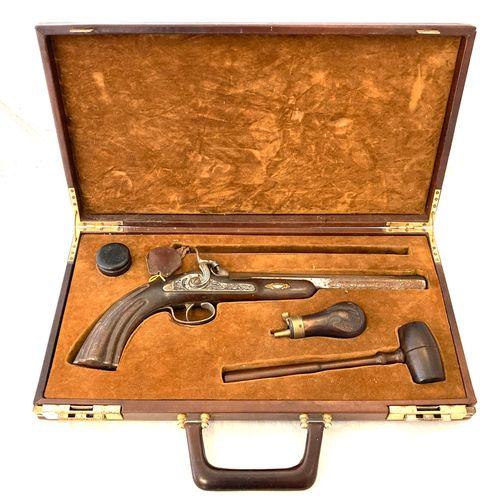 Pistolet de tir à percussion, canon octogonal de 27 cm, calibre .44, rayures che…