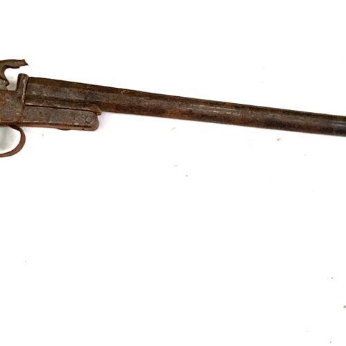 Fusil de chasse à broche, modèle pliant dit « de braconnier », canon de 60,5 cm …