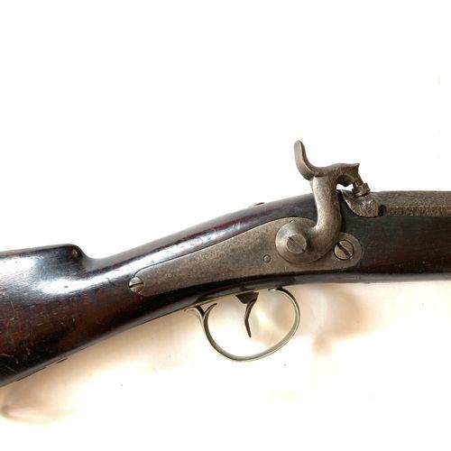 Fusil de chasse à percussion type canardière, canon à pans puis rond de 112 cm, …