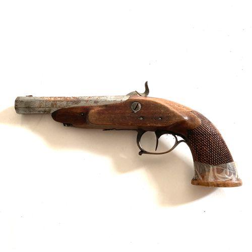 Pistolet à percussion, canon octogonal, légèrement tromblonné, de 12 cm, platine…