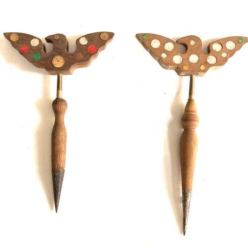 Miroir aux alouettes, tète en forme d'oiseau de 29 cm à 33 glaçillons multicolor…