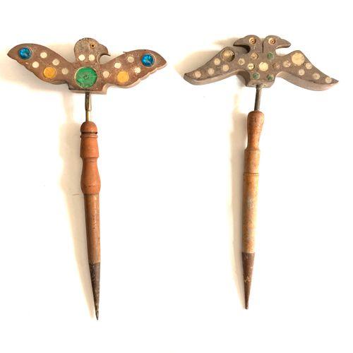 Miroir aux alouettes, tète en forme d'oiseau de 28 cm à 45 glaçillons multicolor…